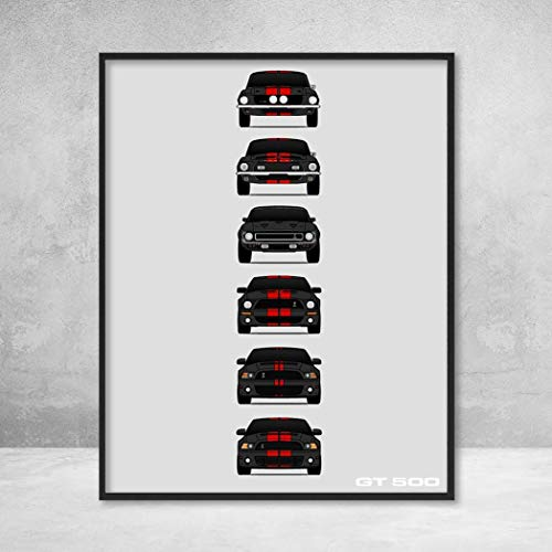 Shelby Mustang GT500 Generations Poster Print Wall Art of the History and Evolution of the Ford Shelby GT500 (Black Car, Red Stripes)