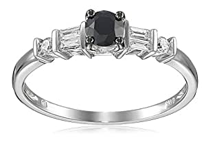 14k White Gold Black and White Parallel Baguette Diamond Engagement Ring (0.5 Cttw, G-H Color, I1-I2 Clarity), Size 6