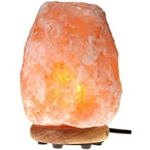 Himalayan Glow 1002 Natural Himalayan Hand Carved Pink Crystal Salt Lamp, ( 3 to 4 KG) 8 to 9 Inch. ETL Certified Dimmable Himalayan Pink Salt Night Lamp with Genuine Neem Wood Base,15 Watt Light Bulb and Rotary Dimmer Switch