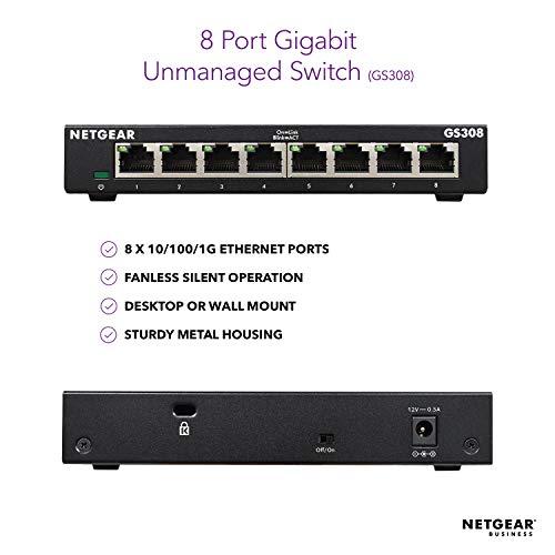 NETGEAR 8-Port Gigabit Ethernet Unmanaged Switch (GS308) - Desktop, Sturdy Metal Fanless Housing