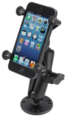 Surface Mount Ram - RAM MOUNTS RAM-B-138-UN7 Flat Surface Mount with Universal X-Grip Cell/Iphone Holder