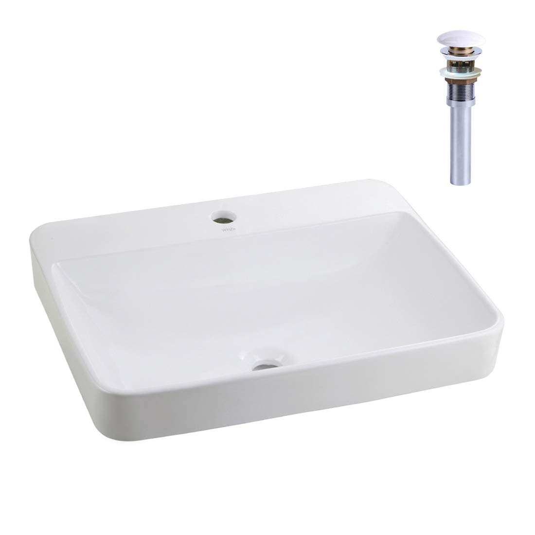 WinZo WZ6123D Drop-in Bathroom Vessel Sink with Single Faucet Hole,Rectangular Semi-recessed Basin Included Porcelain White Brass Pop Up Drain