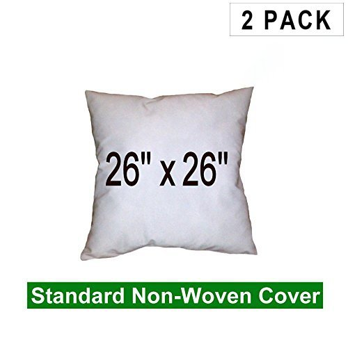 Pillow Insert 26 x 26 100% Polyester Fill Standard Shell Square (2 Pack) Hometex