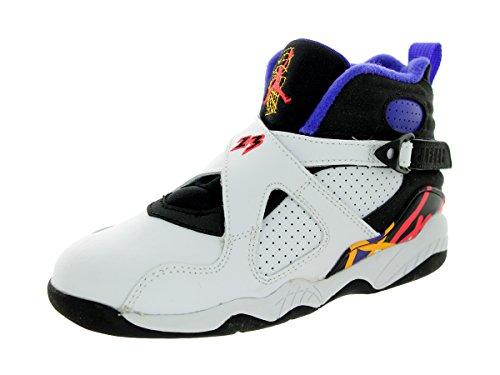 Nike Jordan Kids Jordan 8 Retro BP White/Infrared 23/Black/Brght Cncr Basketball Shoe 11.5 Kids US by Jordan