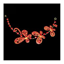 KAKA(TM) Bridal Wedding Pearl Headdress Flower Hair Accessories Bling Rhinestone Handmade Headwear-Red