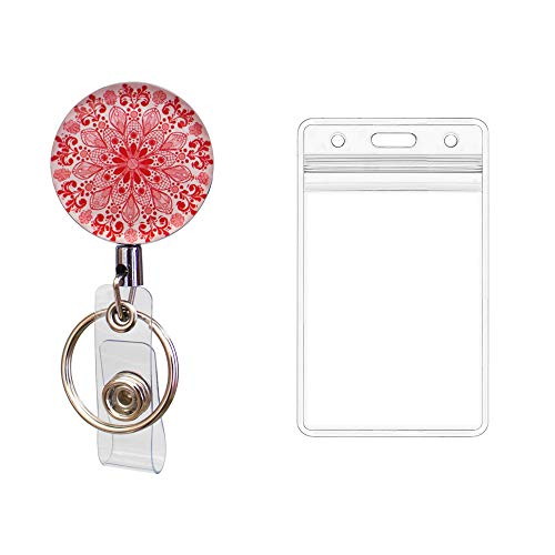 Heavy Duty Retractable Metal Badge Holder Key Reel with Vertical ID Card Holder, Alligator Clip and 25