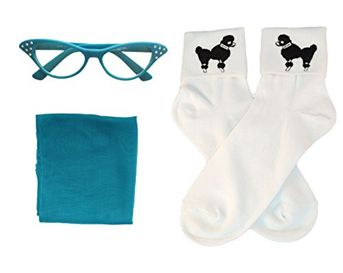 [Hip Hop 50s Shop Child 3 Piece Accessories (Teal)] (Fifties Outfit)