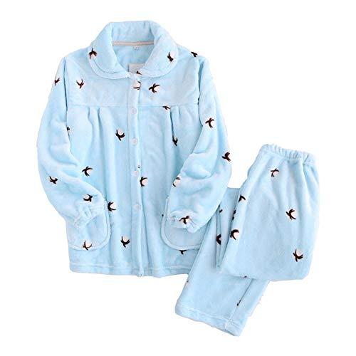 Cálido Mujer Felpa Hogar Espesar Zanzan Blue En Cómodo Conjunto Para Pijamas El Tops De Servicio 0IXq0