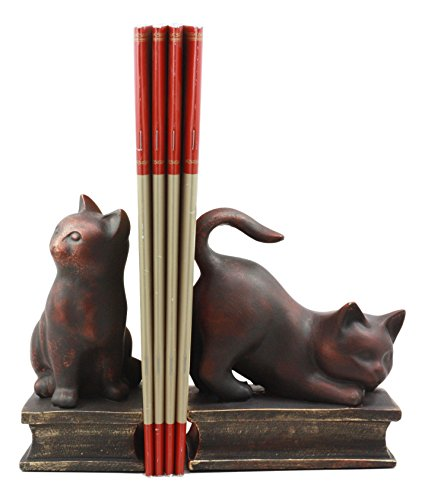 (Ebros Adorable Sitting And Crouching Feline Cat Resin Bookends 7