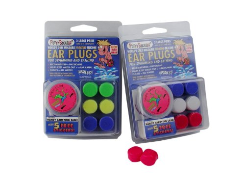 ty Buddies WaterBlock Swimming Ear Plugs - Qty.2 3packs Included - Yellow, Green, Blue Color Ear Plugs ()