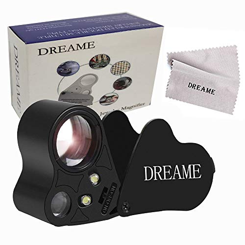 - Dreame 30X 60X LED Lighted Illuminated Jewelers Eye Loupe Jewelry Magnifier for Gems Jewelry Rocks Stamps Coins Watches Hobbies Antiques Models Photos(Black)