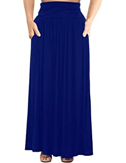 b69a55e7fb Allegrace Women's Plus Size Shirring High Waist Pleated Long Maxi Skirt  with Pockets