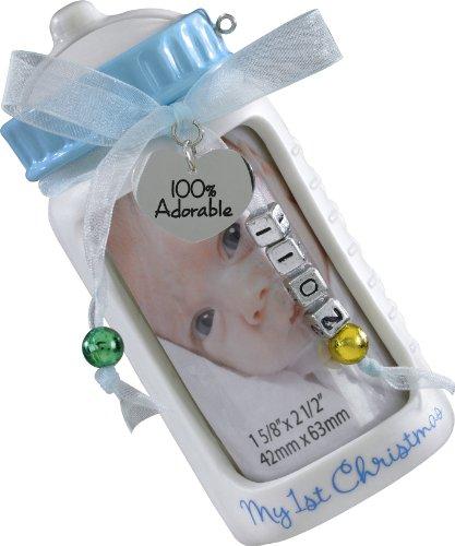 1 Baby Boy's First Christmas - Photo Holder / Bank Ornament #CXOR002Z by Hallmark (Carlton Christmas Heirloom Ornaments)