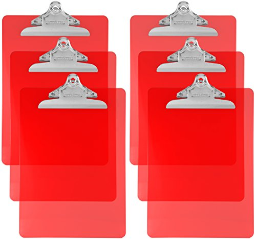 Trade Quest Plastic Clipboard Transparent Color Letter Size Standard Clip (Pack of 6) (Red)