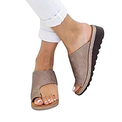 Amazon.com: Women Comfy Platform Sandal Shoes, PU Leather Wedge Heel Sandals with Arch Support, Open Toe Summer Beach Shoes Slippers Size 36 (Khaki): Health ...