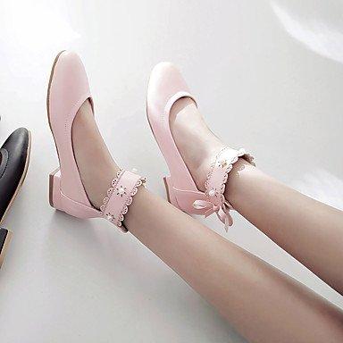 Cómodo y elegante soporte de zapatos de las mujeres zapatos Flats comodidad de primavera verano otoño cuero sintético oficina y carrera fiesta y noche Casual soporte de tacón con lazo negro y rosa col rosa