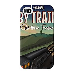 Travel by train Full Wrap High Quality 3D Printed Case for iPhone 4 / 4s by Nick Greenaway + FREE Crystal Clear Screen Protector