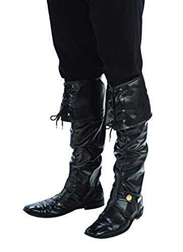 Forum Novelties Men's Deluxe Adult Pirate Boot Covers with Studs, Black, One Size (Kids Deluxe Zorro Costume)