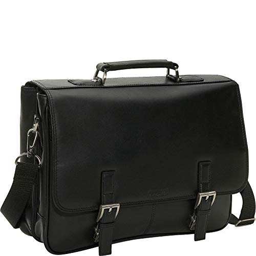 Kenneth Cole Reaction Genuine Leather Dual Compartment Flapover Business Portfolio, Black ()