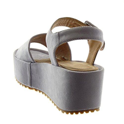 5 Tanga Mules Moda Donna 5 Angkorly cm Tacco Zeppe Fibbia Zeppa Alla Sandali Caviglia Scarpe Piattaforma Cinturino con Hq1WZSv1