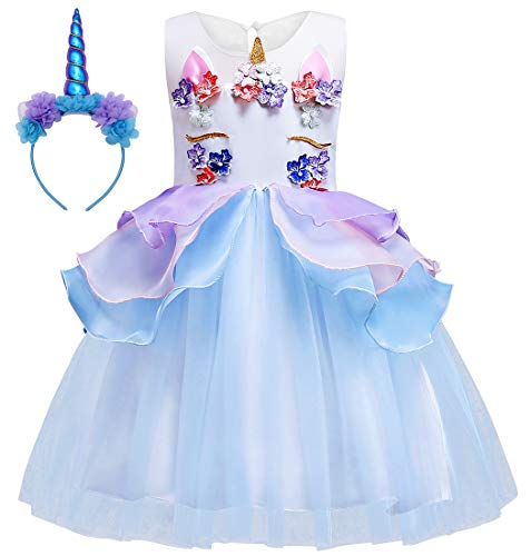 Cotrio Baby Girls Flower Mythical Costume Cosplay Princess Dress up Birthday Pageant Party Dance Outfits Evening Gowns Size 8 (140, 7-8Years, -