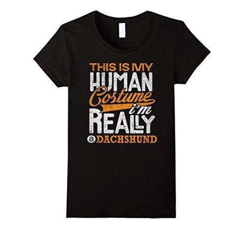 Funny Dachshund Costumes (Womens Dachshund Halloween Costume Shirt Funny Party Gifts Tee Medium)