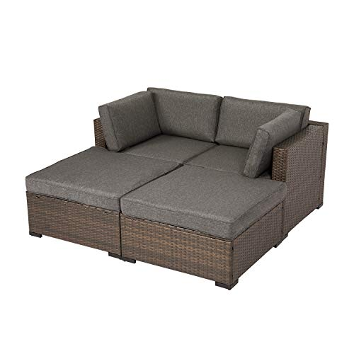 kinbor 4 PCs Outdoor Furniture Sectional Sofa Set Patio Wicker Sofa All-Weather Loveseat with Ottoman for Garden, Porch, Deck, Balcony