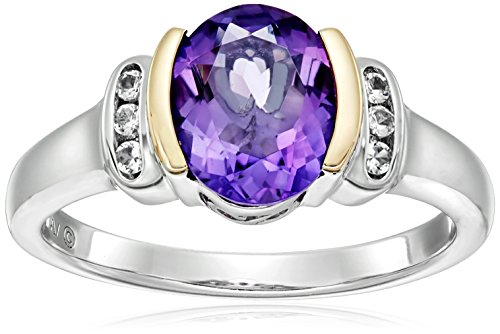 Sterling Silver and 14k Yellow Gold White Topaz and Oval Amethyst Ring, (White Amethyst)