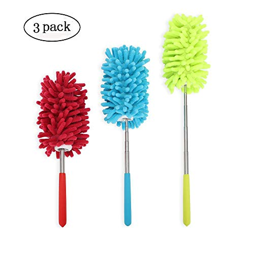 - PrettyDate Microfiber Extendable Hand Dusters Washable Dusting Brush with Telescoping Pole for Cleaning Car, Computer, Air Conditioning, TVand Else Pack of 3
