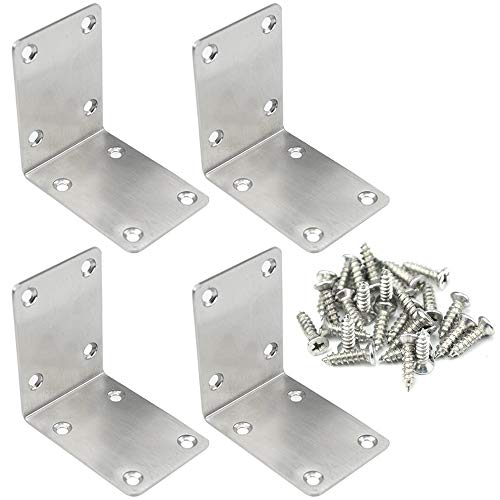 - TOVOT 4 PCS 2.68 inch X 2.68 inch Stainless Steel Shelf Support Brace Corner Angle Brackets Angle Code w/Screws for Wooden Furniture
