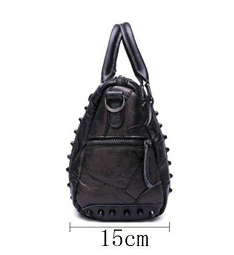 Léger poches Messenger Rétro Bandoulière Cuir à Sacs Main Black Occasionnels Mesdames à Bag Multi Rivets Achats Sac wIUxPq