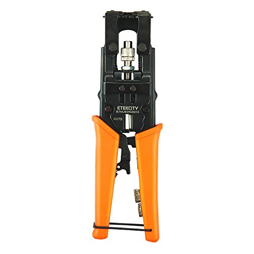 Bnc Crimp Tool - Etekcity Coax Cable Crimper, Multifunctional Compression Connector Adjustable Deluxe Tool for F BNC RCA, RG58 RG59 RG6, Universal Wire Cutters