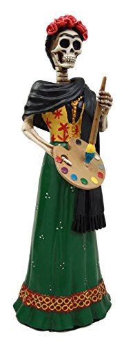 """Ebros Gift Mexican Dias De Los Muertos La Pintora Mexican Lady Skeleton Day of The Dead Decor Figurine 8.25"""" H As Halloween Ossuary Macabre Statue Graveyard Skulls and Skeletons Themed Sculpture"""