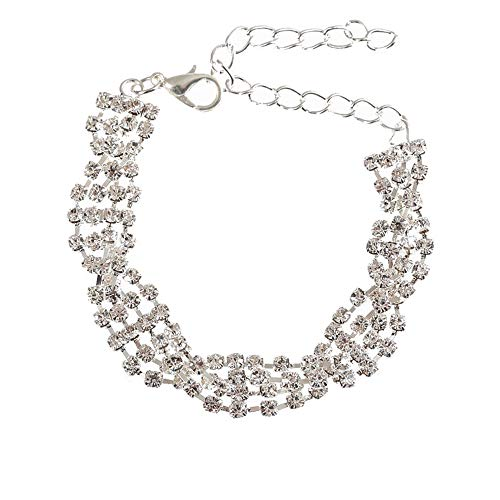 Ruoling AAA Cubic Zircon Tennis Bracelet Shining Crystal Link Hand Chain for Women (White Sliver)