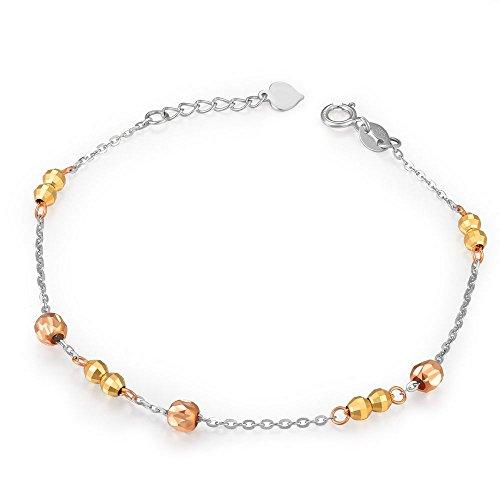 Station or tricolore 14carats Jaune Perles Bracelet (16,5cm) femmes bijoux St Valentin Anniversaire Cadeau de mariage