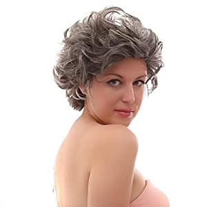 Lace Front Grey Short Curly Mixed Hair Wigs with Twenty-percent Human Hair