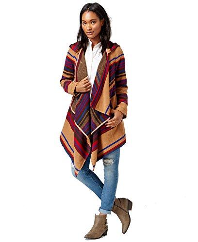 Maison Jules Womens Wool Blend Hooded Coat Brown XS