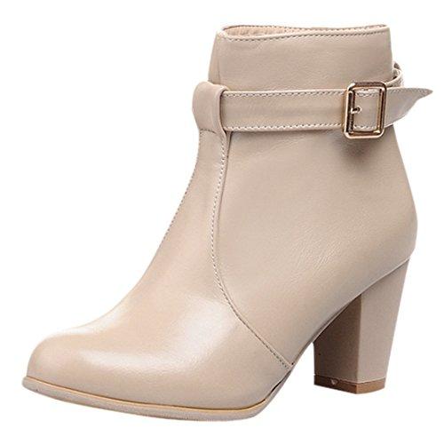 YE Damen Chunky Heel Short Ankle Boots 7CM Heels Blockabsatz Heels Bequeme Stiefeletten mit Reißverschluss und Schnalle Herbst-Winter-Wasserdicht Elegant Schuhe Beige