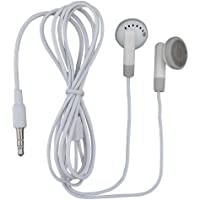 TFD Supplies Wholesale Bulk Earbuds Headphones 100 Pack For Iphone, Android, MP3 Player - White/Gray - Individually Bagged