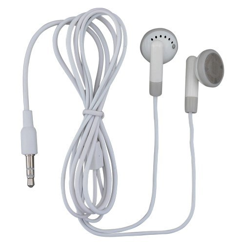TFD Supplies Wholesale Bulk Earbuds Headphones 100 Pack For Iphone, Android, MP3 Player - White/Gray - Individually Bagged by TFD Supplies