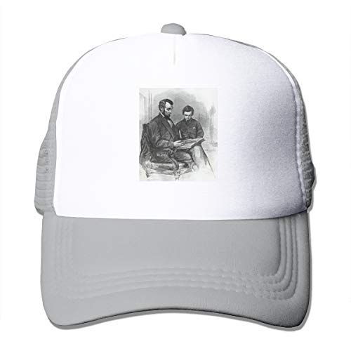 HiPiClothK Unisex Abraham Lincoln Reading Trucker Hats Gray