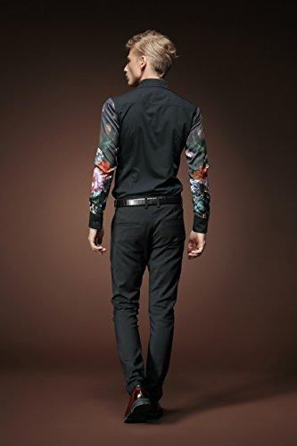 FANZHUAN Camicie a Fiori Uomo Nera Eleganti Maniche Lunghe Ricamo Stampa Slim Fit Moda Casual