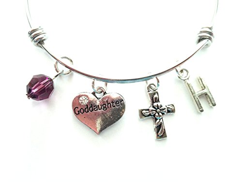 Goddaughter themed personalized bangle bracelet. Antique silver charms and a genuine Swarovski birthstone colored element.