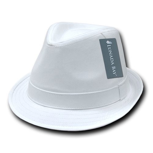 DECKY Basic Poly Woven Fedora, White, Large/X-Large