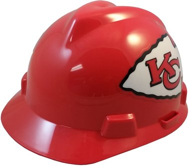 MSA NFL Team Safety Helmets with One-Touch Adjustable Suspension and Hard Hat Tote - Kansas City -
