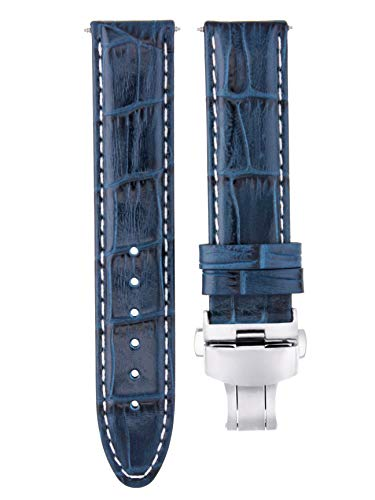 20MM Leather Watch Strap Band for BULOVA ACCUTRON II 97B128 Blue WS ()