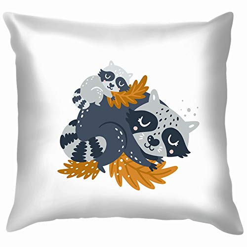 Raccoon Clipart Woodland Animal Mother Animals Wildlife The Arts Throw Pillows Covers Accent Home Sofa Cushion Cover Pillowcase Gift Decorative 26X26 -