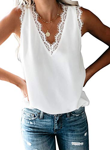 LOSRLY Womens V Neck Lace Strappy Tank Tops Casual Sleeveless Blouse Shirts(S-XXL)