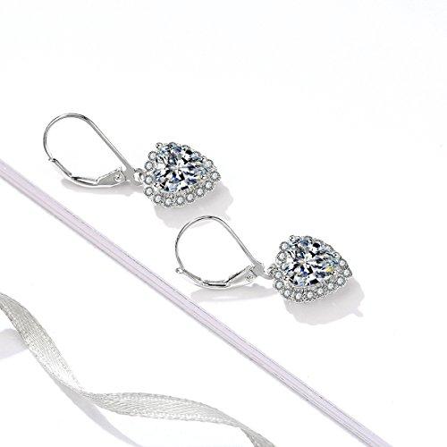 7c6565e99 YFN Platinum-Plated Sterling Silver Halo Cubic Zirconial Leverback Love  Heart Dangle Drop Women Earrings