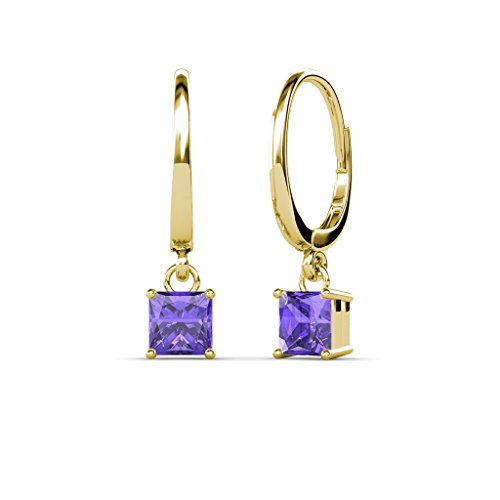 TriJewels Iolite Four Prong Solitaire Dangling Earrings 1.70 ctw in 14K Yellow Gold